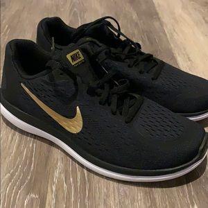 New Nike Free Run 2017 Black/Gold shoes 7Y